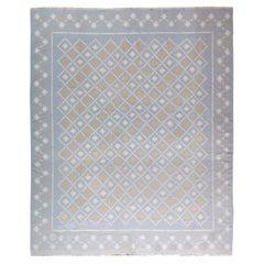 Mid-20th Century Blue, White, Orange Indian Dhurrie Flat-Weave Cotton Rug