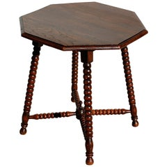 Mid-20th Century Bobbin Side Table with Octagonal Top