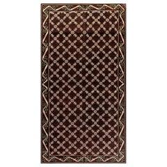 Mid-20th Century Botanic Chocolate Brown and Ivory Spanish Handmade Wool Rug