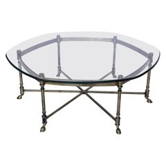 Mid-20th Century Brass and Glass Coffee Table