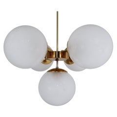 Mid-20th Century Brass Chandelier with Five Hand Blown Pearl Globes