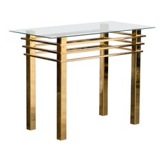 Mid-20th Century Brass Console Table with Glass Top