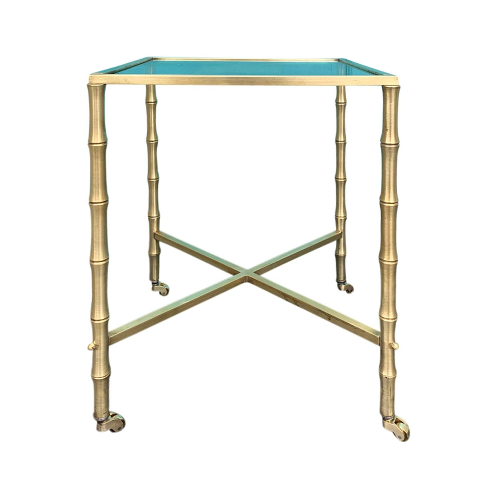 Mid-20th Century Brass Faux Bamboo Side Table, Glass Top