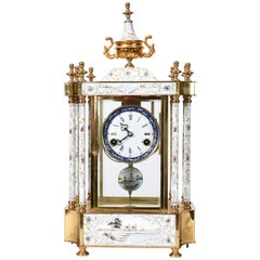 Mid-20th Century Brass Frame Mantel Clock