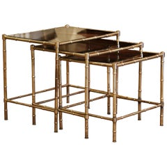 Mid-20th Century Brass & Glass Nesting Tables from Maison Baguès, Set of Three