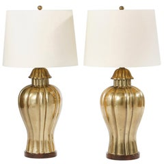 Mid-20th Century Brass Pair of Table Lamps / Wood Base