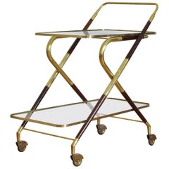 Mid-20th century Brass, Rosewood and Glass Bar Cart on Casters