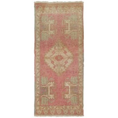 Mid-20th Century Bright Bubble Gum Pink Turkish Rug