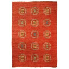Mid-20th Century Red Swedish Flat-Weave Wool Rug