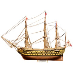 """Mid-20th Century British Sailboat Flagship Model the """"HSM Victory"""""""