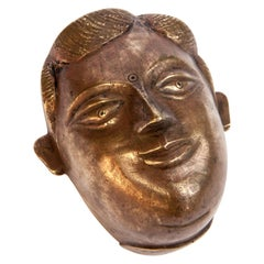 Mid-20th Century Bronze Face Box from South Nepal