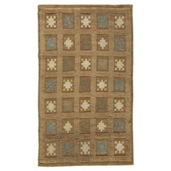 Mid-20th Century Brown, Beige, Blue, Yellow Swedish Handmade Wool Pile Rug