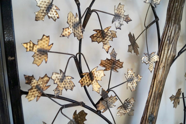 Mid-20th Century Brutalist Metal and Brass Leaves Screen, England For Sale 6