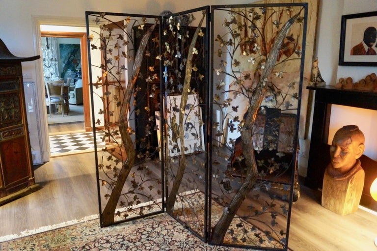 Mid-20th century Brutalist metal and brass leaves screen, England