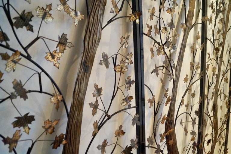 Mid-20th Century Brutalist Metal and Brass Leaves Screen, England For Sale 4