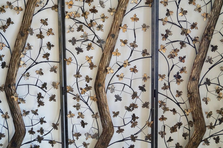 Mid-20th Century Brutalist Metal and Brass Leaves Screen, England For Sale 5