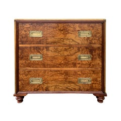 Mid-20th Century Burled Wood & Brass Chest by Baker, Labeled