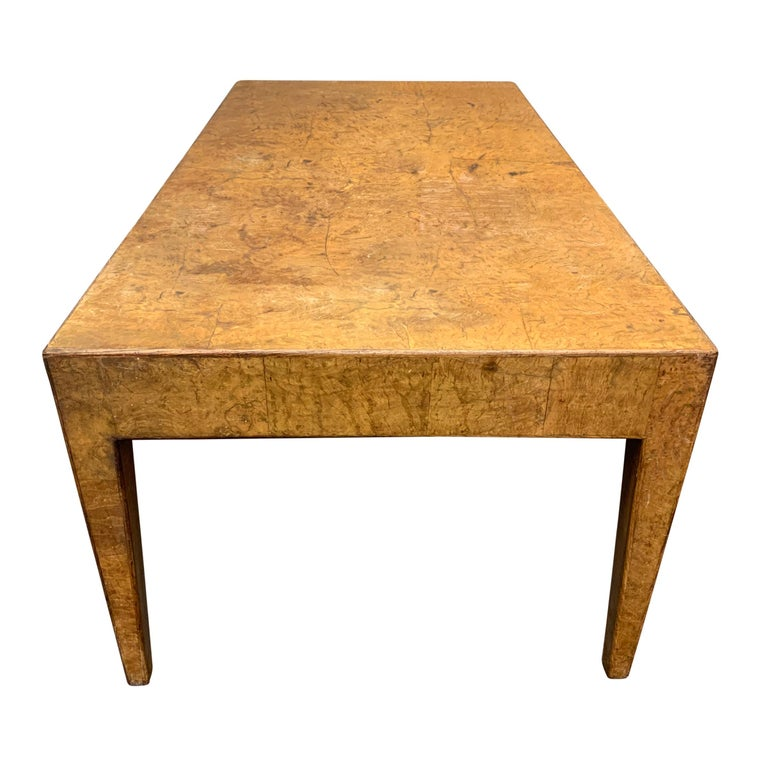 Italian Mid-20th Century Burl Wood Low Table For Sale