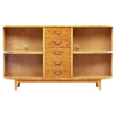 Mid-20th Century Burr Birch Low Open Bookcase Cabinet