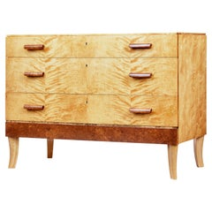 Mid-20th Century Burr Birch Scandinavian Chest of Drawers
