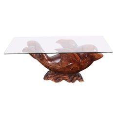 Mid 20th Century Carved Hardwood Dolphin Coffee Table Sculpture