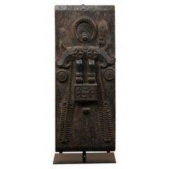Mid-20th Century Hand-Carved Tribal Wood Wall Panel from Nias Island, Indonesia