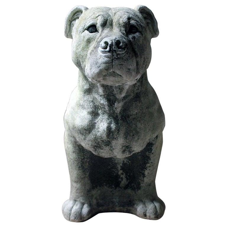 Mid-20th Century Cast Composition Stone Staffordshire Bull Mastiff For Sale