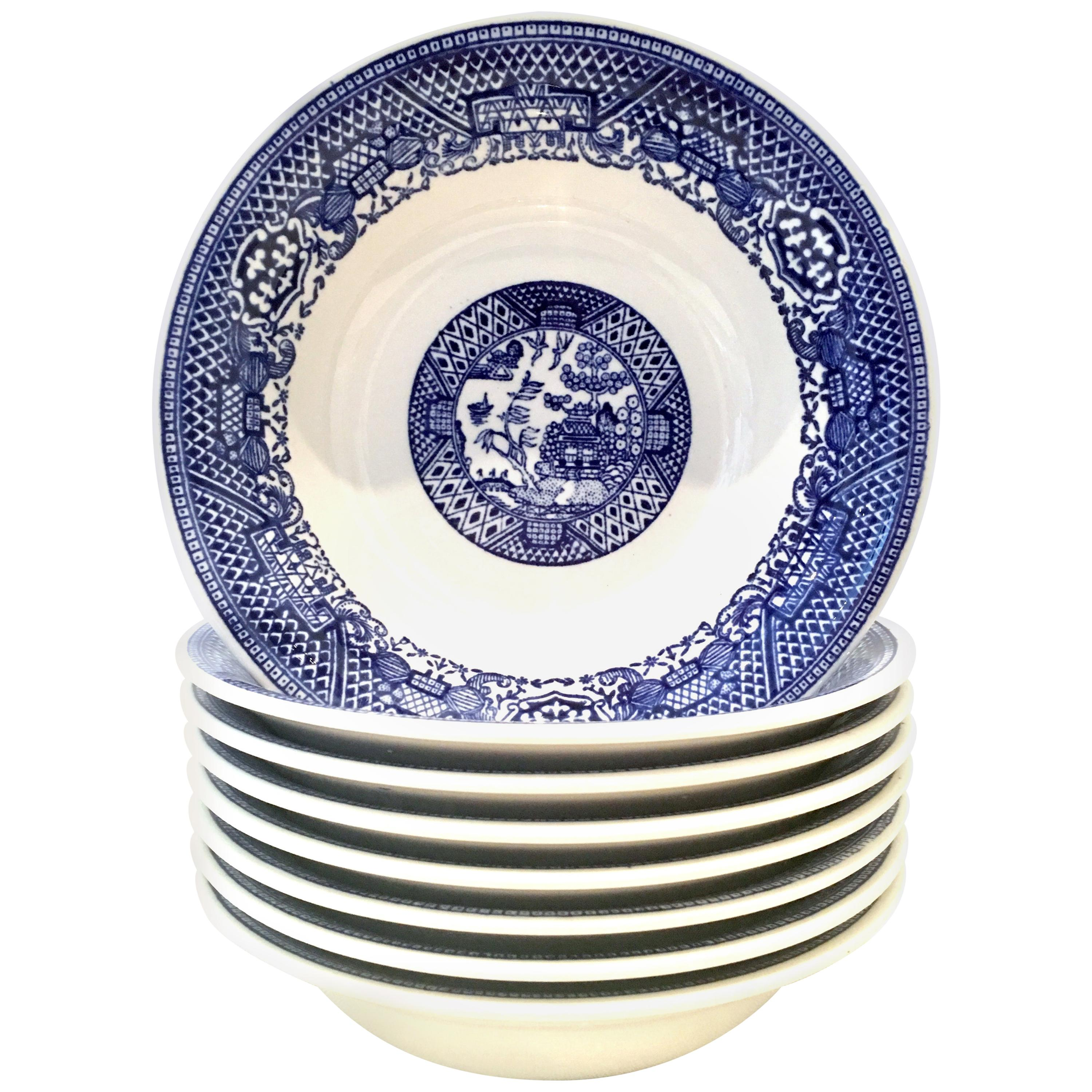 Mid-20th Century Ceramic Blue Willow Soup/Cereal Bowl, Set of 8