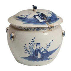 Mid-20th Century Chinese Blue Cobalt Vitreous Porcelain Ginger Jar