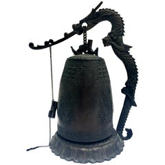 Mid-20th Century Chinese Bronze Sculptural Dragon Large Gong Bell