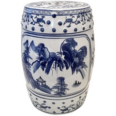 Mid-20th Century Chinese Export Hand-Painted Blue & White Garden Stool