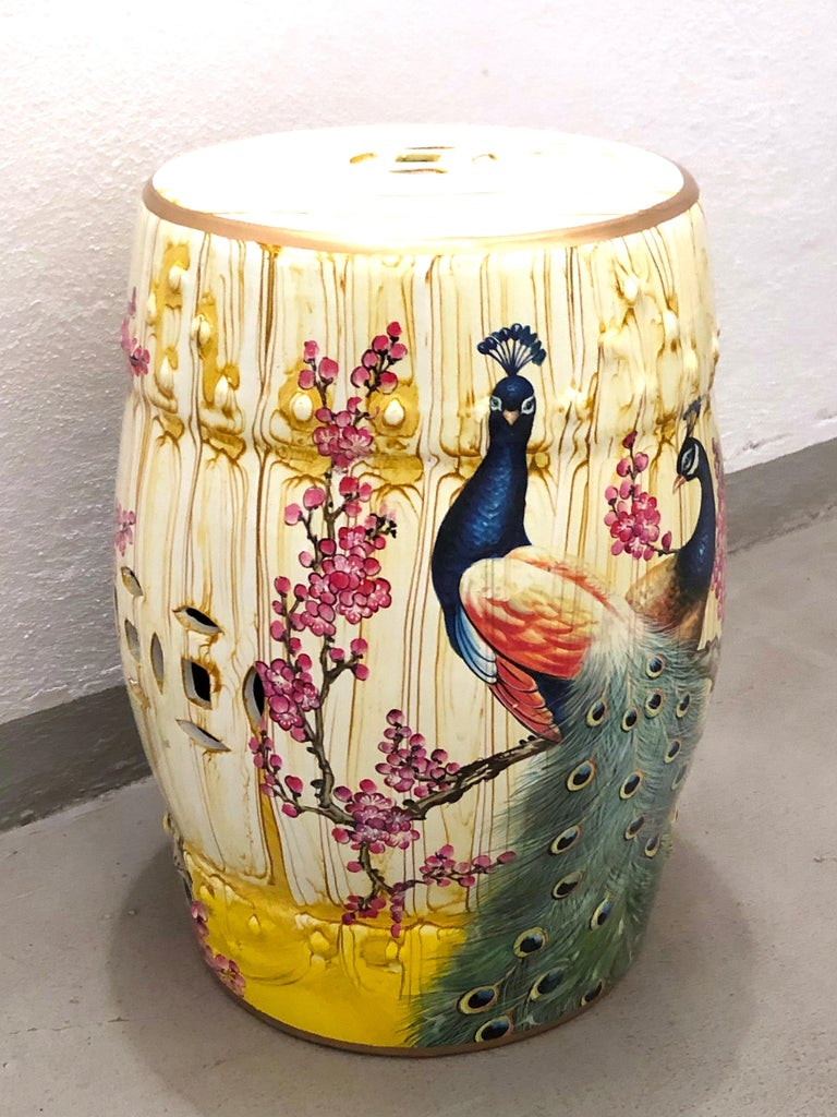 Mid 20th Century Chinese Export Hand Painted Garden Stool