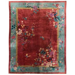 Mid-20th Century Chinese Floral Art Deco Room Size Rug in Red and Seafoam Green