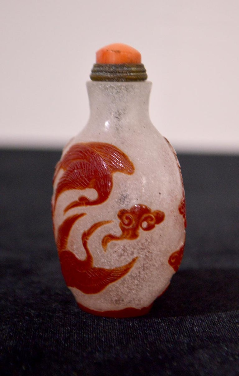 Chinoiserie Mid-20th Century Chinese Glass Snuff Bottle For Sale
