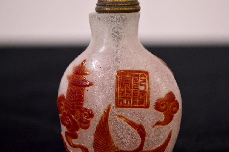 Mid-20th Century Chinese Glass Snuff Bottle In Excellent Condition For Sale In CILAVEGNA, IT