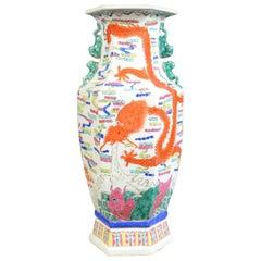 Mid-20th Century, Chinese, Hexagonal, Baluster Vase, Oriental Ceramic Urn