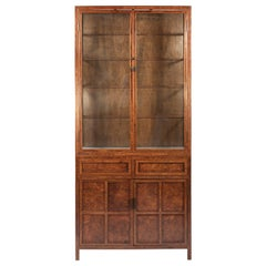 Mid-20th Century Chinese Lighted Burl Wood and Glass Tall Two Piece Cabinet