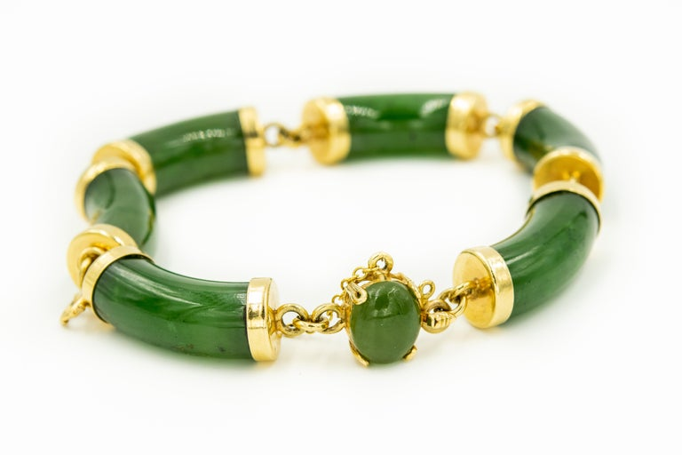 Women's Mid-20th Century Chinese Nephrite Jade Bamboo Bar Link Yellow Gold Bracelet For Sale