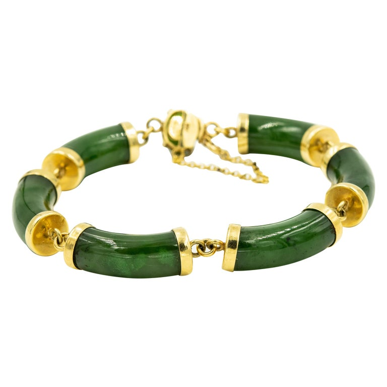 Mid-20th Century Chinese Nephrite Jade Bamboo Bar Link Yellow Gold Bracelet For Sale