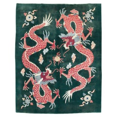 Mid-20th Century Chinese Pictorial Dragon Room Size Carpet in Green & Ruby Red