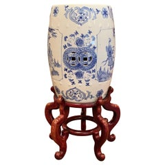 Mid-20th Century Chinese Porcelain Garden Stool on Carved Stand