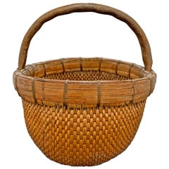 Mid-20th Century Chinese Woven Reed Basket