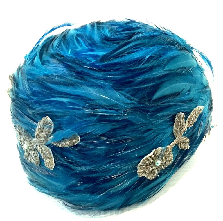 Blue Mid-20th Century Christian Dior French Ostrich Feather & Beaded Applique Hat For Sale