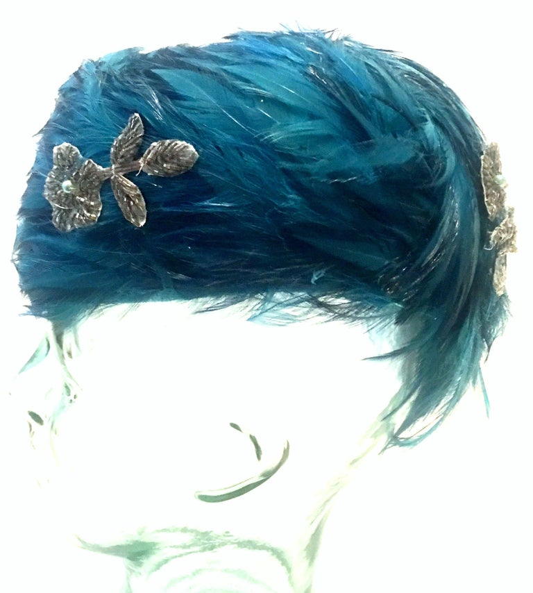 Women's or Men's Mid-20th Century Christian Dior French Ostrich Feather & Beaded Applique Hat For Sale