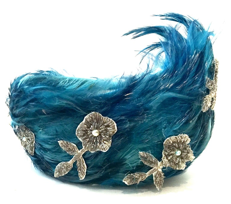 Mid-20th Century Christian Dior French Ostrich Feather & Beaded Applique Hat For Sale 2