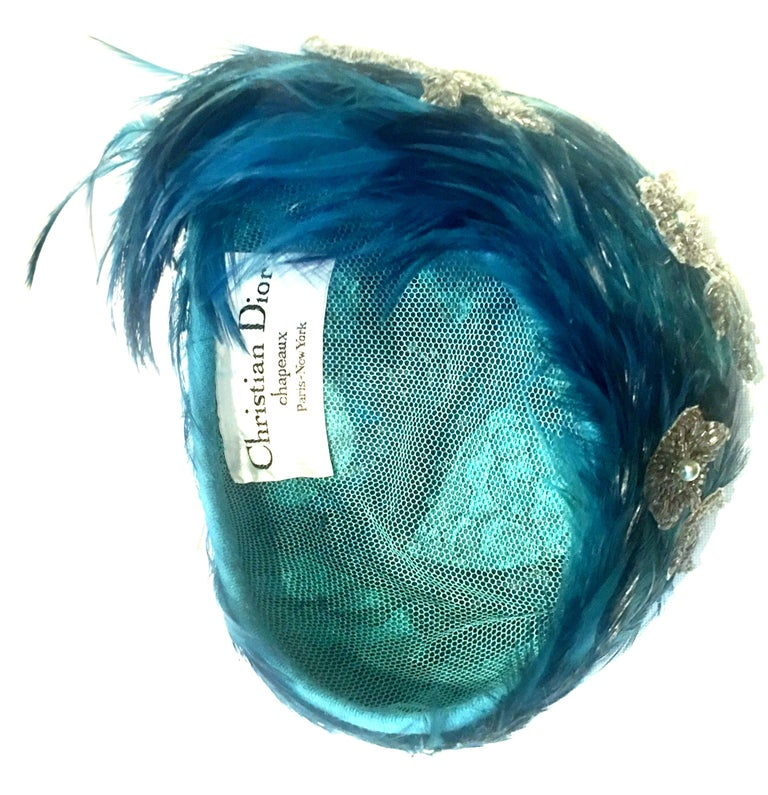 Mid-20th Century Christian Dior French Ostrich Feather & Beaded Applique Hat For Sale 4