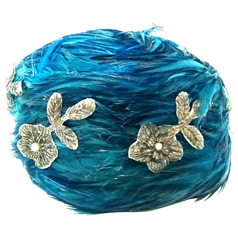 Mid-20th Century Christian Dior French Ostrich Feather & Beaded Applique Hat For Sale