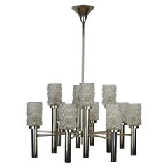 Mid-20th Century Chrome and Art Glass Chandelier, 12-Armed