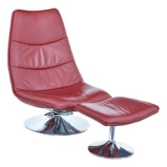 Mid 20th Century Chrome and Leather Chair with Stool