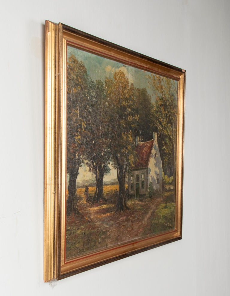 Mid 20th Century Classic Oil Painting House in the Woods on a Sunny Day For Sale 4